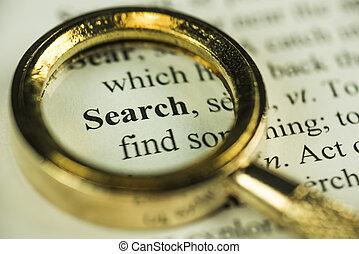 ricerca, e, trovare, concetto, con, closeup, dorato, lente ingrandimento