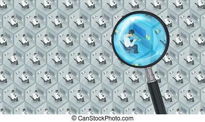 ricerca, e, trovare, meglio, buono, impiegato, lavoro, personale ufficio, risorse umane, hr, lavoro cerca, concetto, con, magnifier., meglio, ricerca lavoro, meglio, impiegato, meglio, agenzia, piccolo, cell.