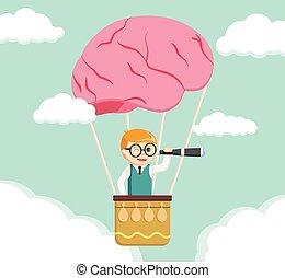 ricerca, forma, ballon, aria, cervello, nerd