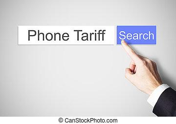 ricerca fotoricettore, bottone spingendo, telefono, dito, tariffa