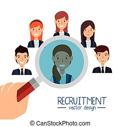ricerca, isolato, recluta, disegno, risorse umane