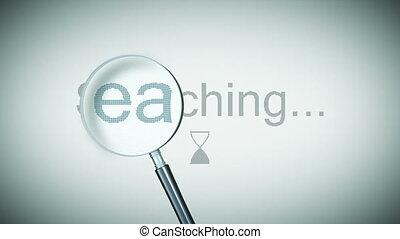 ricerca, processo, con, loupe., cappio