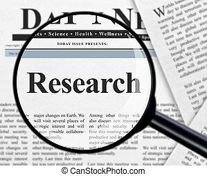 ricerca, sotto, lente ingrandimento