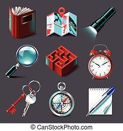 ricerca, vettore, set, icone