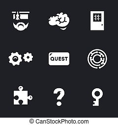 ricerca, vettore, set, stanza, icons.