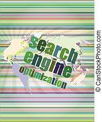 ricercare ottimizzazione motore, -, seo, segno, in, browser, finestra, vettore, illustrazione