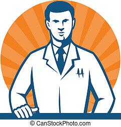 ricercatore, tecnico, scienziato, laboratorio, cravatta