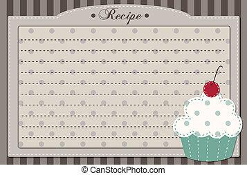 ricetta, retro, scheda, cupcake