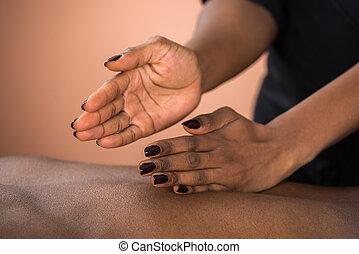 ricevimento, massaggio posteriore, uomo