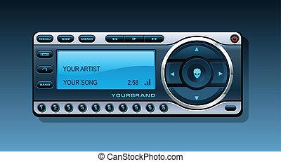 ricevitore, satellite, radio, stereo