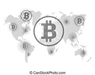 ricezione., punti, map., bitcoin, mondo