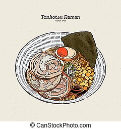 Rich and creamy tonkotsu ramen with chashu and egg, hand draw sketch vector.
