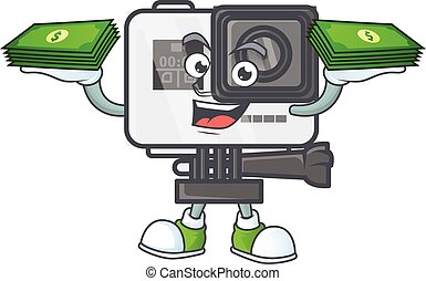 rich and famous action camera cartoon character with money on hands
