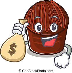 Rich and famous chocolate candy cartoon character holding money bag. Vector illustration