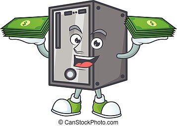 rich and famous CPU cartoon character with money on hands