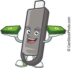rich and famous flashdisk cartoon character with money on hands