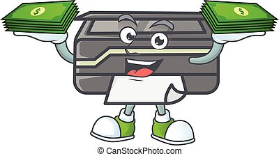 rich and famous printer cartoon character with money on hands