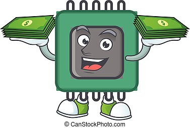 rich and famous RAM cartoon character with money on hands