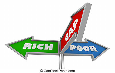 Rich and Poor Bridge the Gap Income Inequality Signs 3d Illustration