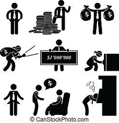 A set of pictogram representing the rich and poor man.