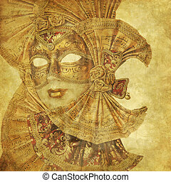 Rich antique Venetian Mask with music paper decorations on a...