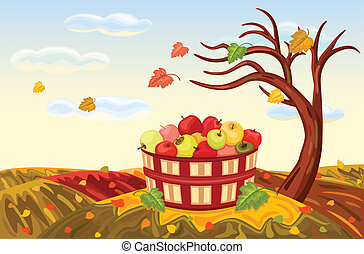 Beautiful autumn landscape with rich apple harvest under a bare, lone tree. The wind is blowing and the leaves are falling. Vector illustration saved as EPS AI8, all elements layered and grouped.
