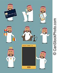 Rich arab businessman cartoon character set. Saudi arabian...