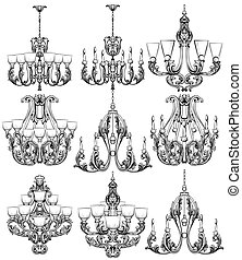 Rich Baroque Classic chandelier set. Luxury decor accessory design. Vector illustration sketch