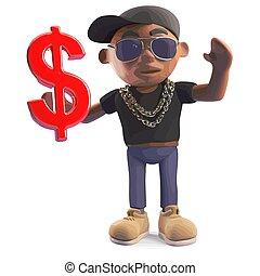 Rich black hiphop rapper holding US dollar currency symbol, 3d illustration