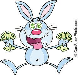 Rich Blue Rabbit Cartoon Character