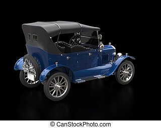Rich blue vintage car - restored
