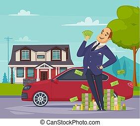 Rich Businessman Cartoon Composition