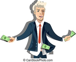 Rich businessman character hold money