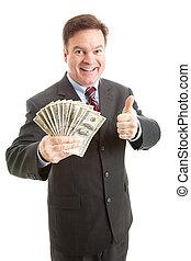 Rich Businessman Thumbsup - Wealthy businessman holding a...