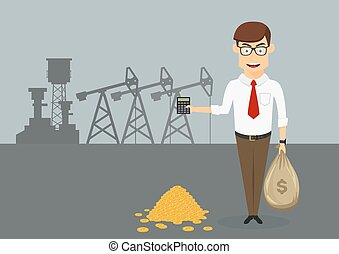 Rich businessman with money in front of oil pumps