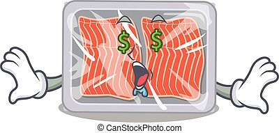 Rich cartoon character design of frozen salmon with money eyes