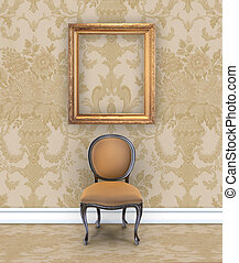 Rich Damask Room With Velvet Chair and Empty Picture Frame