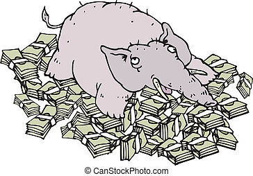 rich elephant lying on money - Rich elephant lying on money....