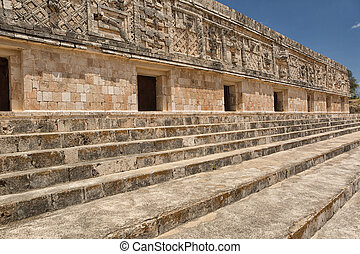 rich facade carvings at the prehispanic town of Uxmal , a Unesco World Heritage site
