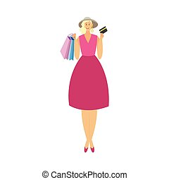 Rich fashionable woman cartoon character goes shopping, flat vector illustration isolated on white background. Beautiful successful woman with shopping bags.