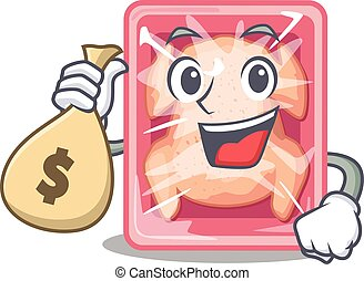 Rich frozen chicken cartoon design holds money bags