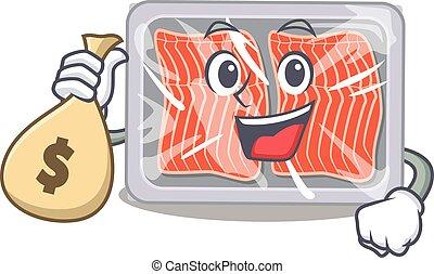 Rich frozen salmon cartoon design holds money bags