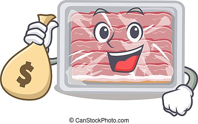 Rich frozen smoked bacon cartoon design holds money bags