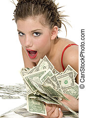 Rich Girl - Well dressed teen rolling in one dollar bills.