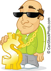 Rich Guy - Old rich man with big golden dollar necklace