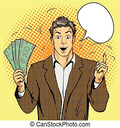 Rich handsome guy hold money and point his finger up. Business concept vector in pop art style.