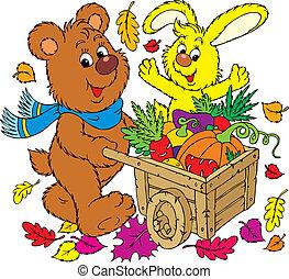 Rich harvest - bear and rabbit walking with a wheelbarrow of...