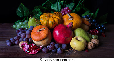 Rich harvest of various fruits and vegetables