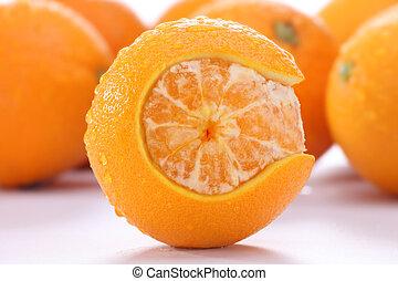 rich in vitamin c - orange skin cut into C shape