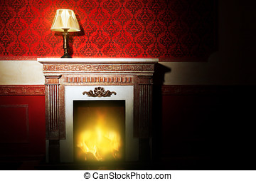 Rich interior with antique lamp and fireplace in red vintage...
